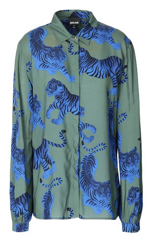 "JUST CAVALLI Long sleeve shirt Woman ""Chasing-Tiger"" print shirt f"