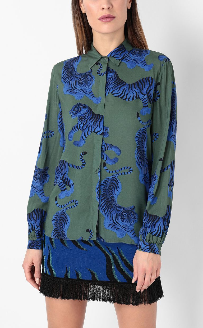 "JUST CAVALLI ""Chasing-Tiger"" print shirt Long sleeve shirt Woman r"