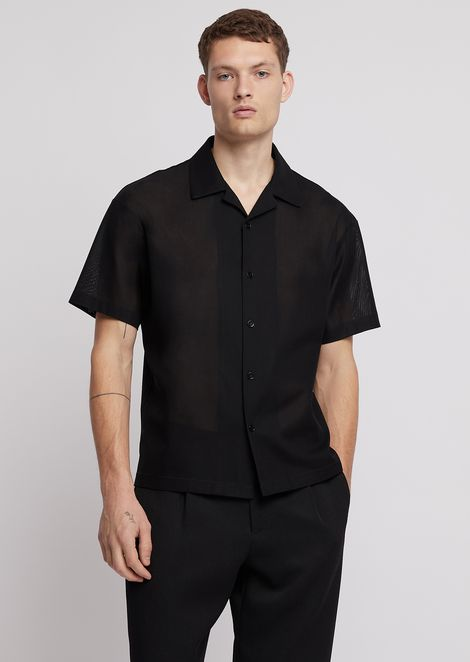 Short-sleeved shirt in cotton gauze