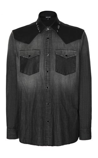 JUST CAVALLI Denim shirt Man Denim shirt with pierced detail f