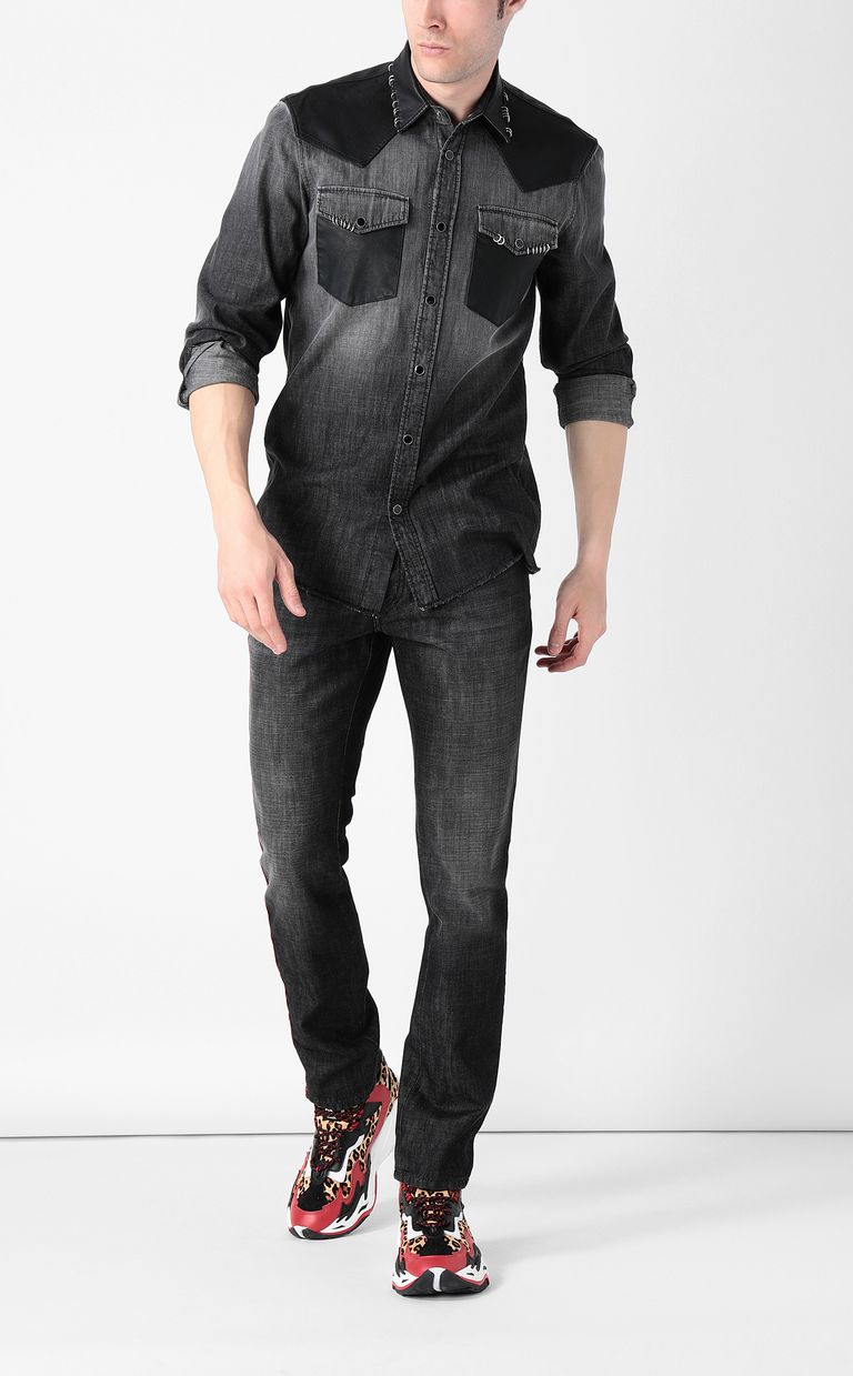 JUST CAVALLI Denim shirt with pierced detail Denim shirt Man d