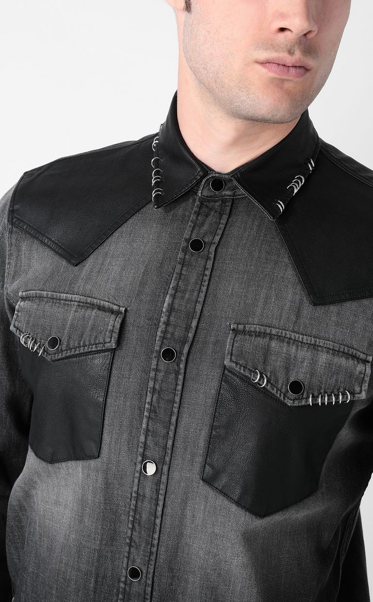JUST CAVALLI Denim shirt with pierced detail Denim shirt Man e