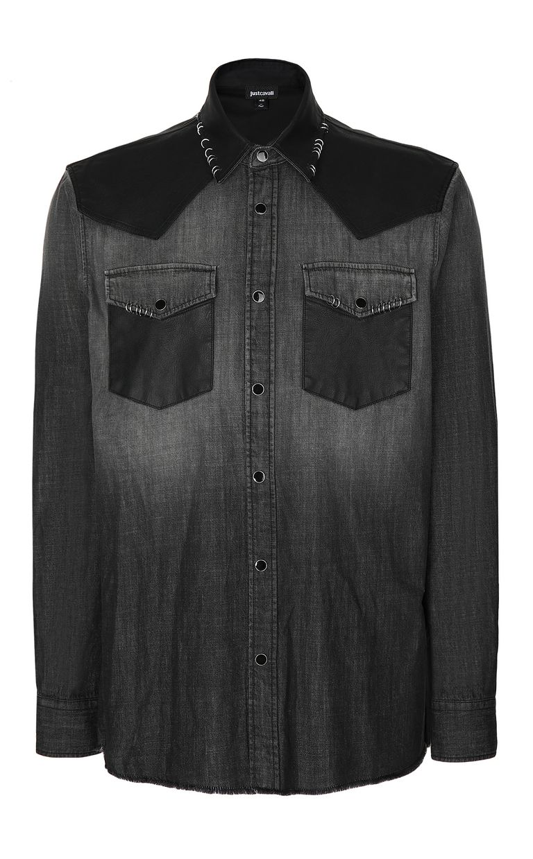 JUST CAVALLI Denim shirt with pierced detail Denim shirt Man f