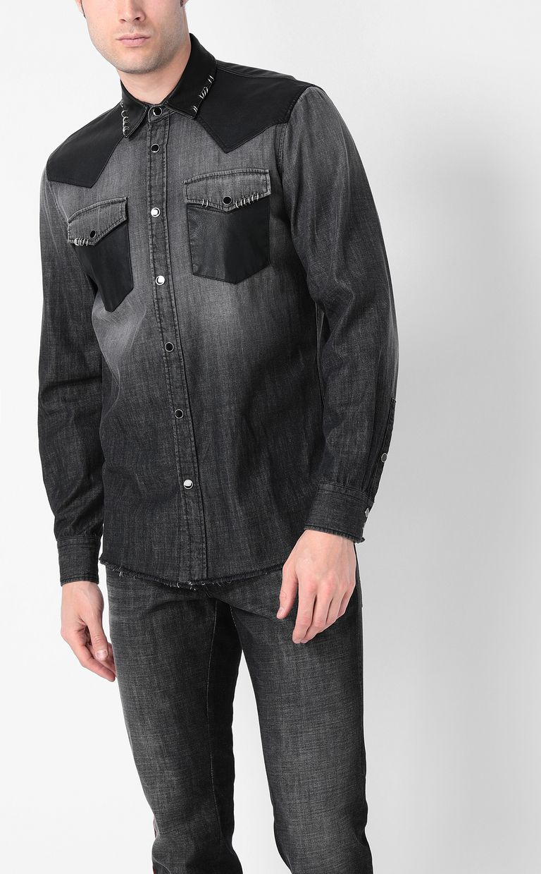 JUST CAVALLI Denim shirt with pierced detail Denim shirt Man r