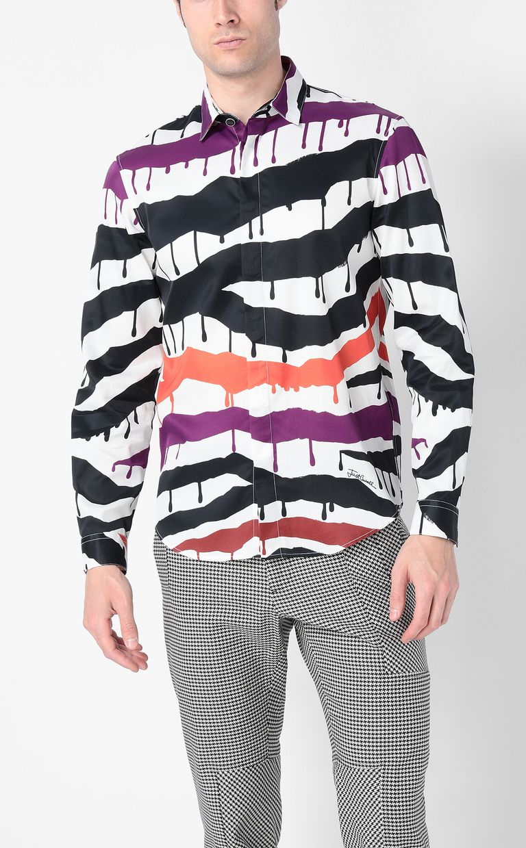 "JUST CAVALLI Shirt with ""Dripping Zebra"" print Long sleeve shirt Man r"
