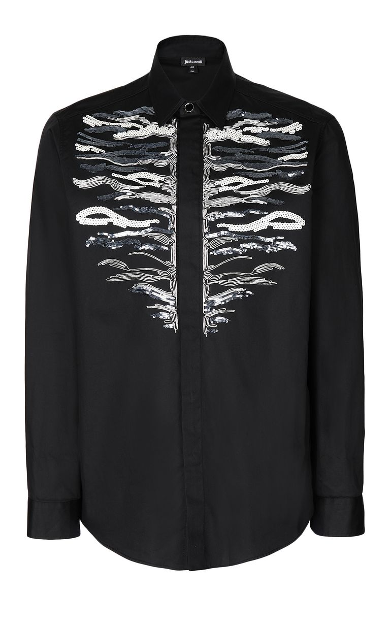 JUST CAVALLI Shirt with embroidered tiger Long sleeve shirt Man f