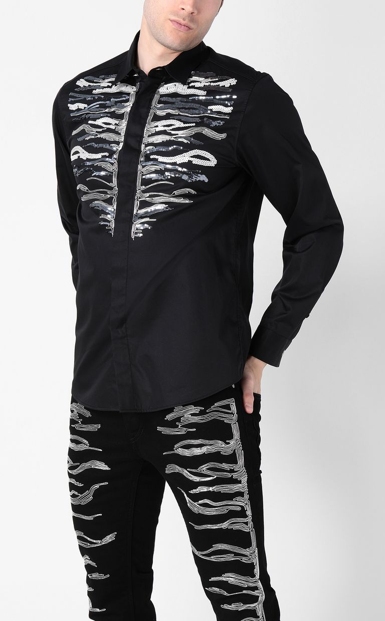 JUST CAVALLI Shirt with embroidered tiger Long sleeve shirt Man r