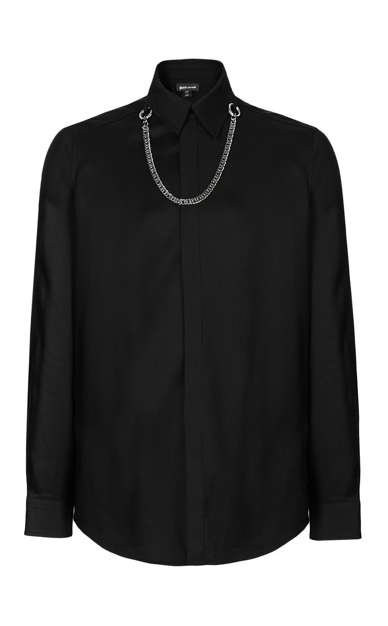 JUST CAVALLI Shirt with chain detail Long sleeve shirt Man f