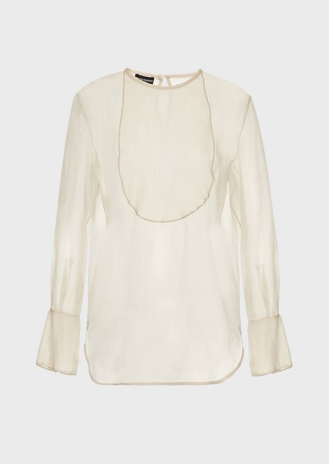 Blouse in washed tech organza with faux plastron