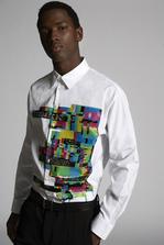 DSQUARED2 Poplin Dropped Shoulder Shirt With Glitch Print Shirt Man