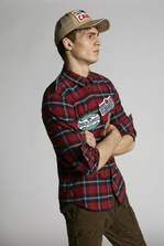 DSQUARED2 Cotton Check Relax Dan Shirt With Patches Shirt Man