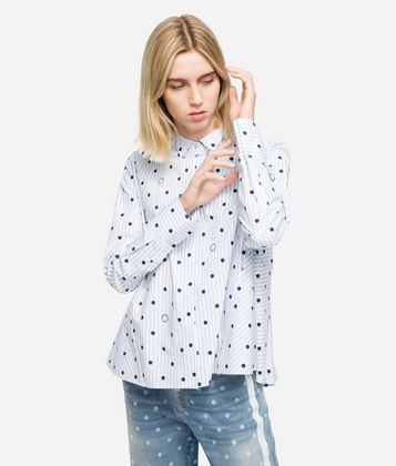 KARL LAGERFELD K/DOTS HIGH COLLAR SHIRT