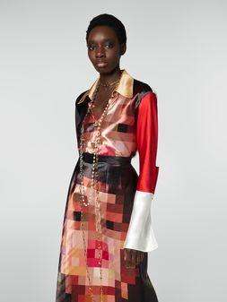 Marni Tight-fitting shirt in satin Pixel Grace print Woman