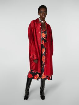 Marni Extra-long shirt in viscose and acetate double twill Woman