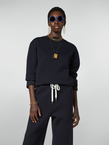 Marni Boat-neck sweatshirt in double wool jersey Woman f