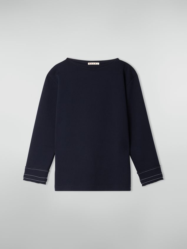 Marni Boat-neck sweatshirt in double wool jersey Woman - 2