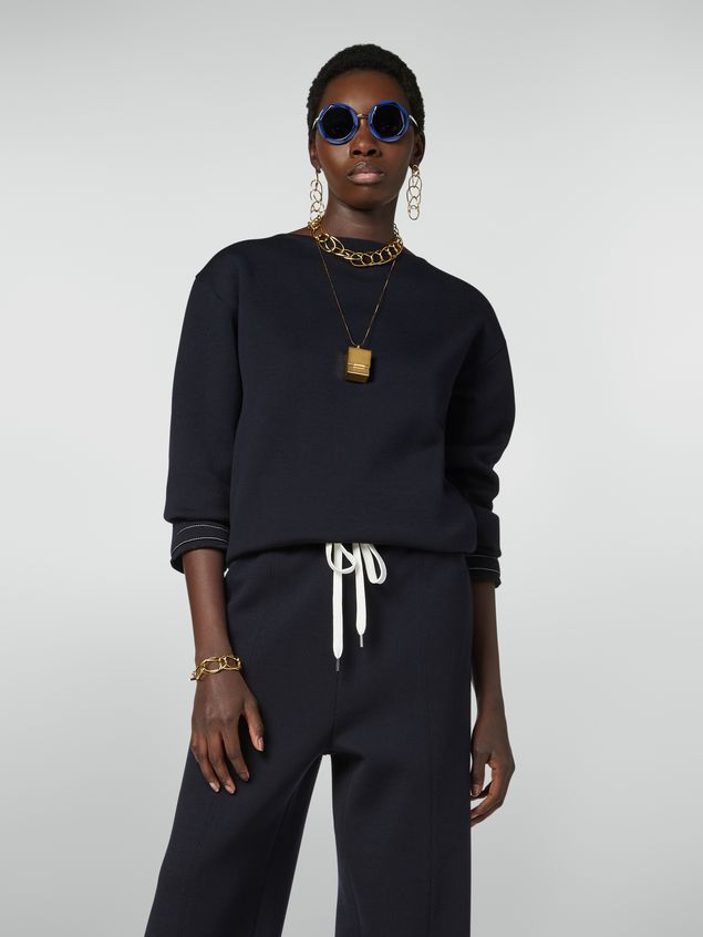 Marni Boat-neck sweatshirt in double wool jersey Woman - 1