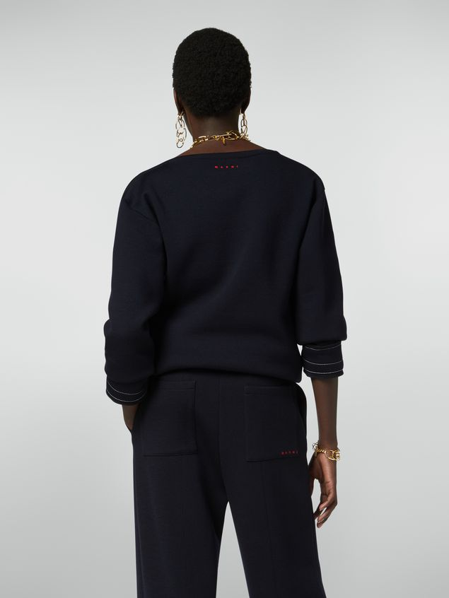 Marni Boat-neck sweatshirt in double wool jersey Woman - 3