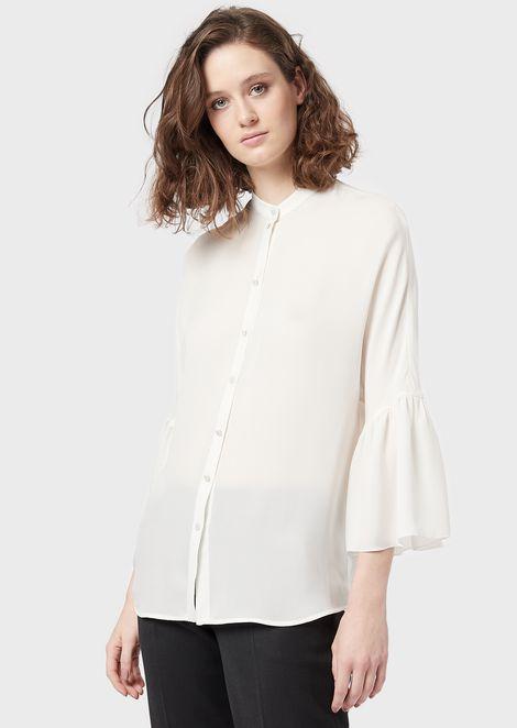Camicia in georgette di seta con maniche a balza