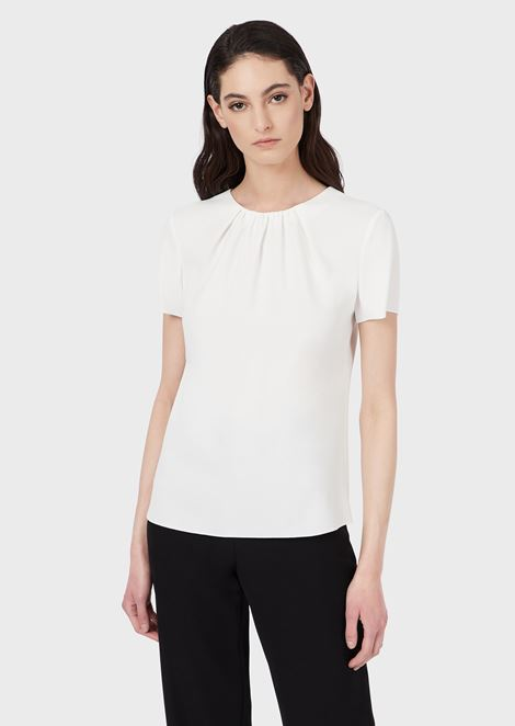 Satin blouse with pleated neckline
