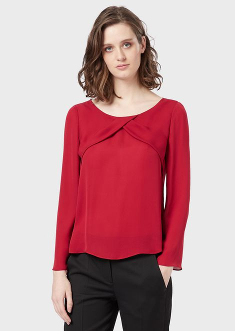 Blouse in silk georgette with diagonal detail