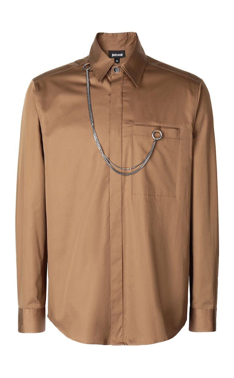 JUST CAVALLI Shirt with chain detail Long sleeve shirt Man f