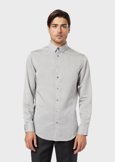 Slim-fit shirt in exclusive striped fabric