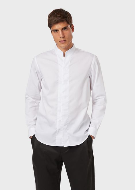 Textured cotton shirt with guru collar