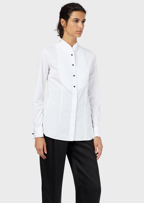 Cotton poplin tuxedo shirt with plastron