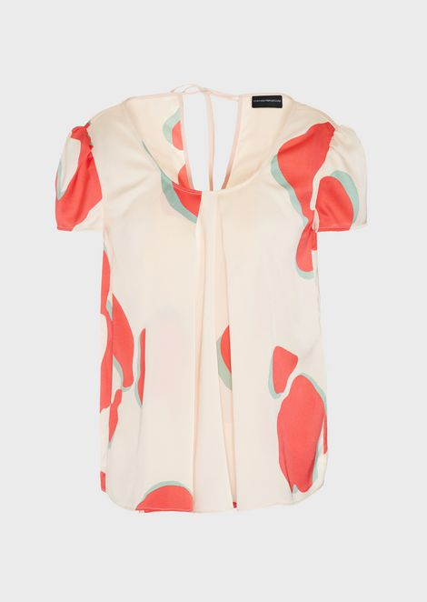 Crêpe blouse with double godet pleat and LeoFlower print