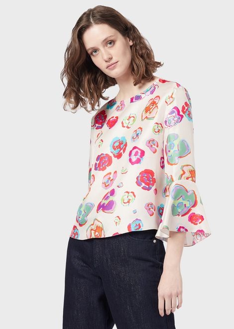 Silk blouse with LeoFlower print