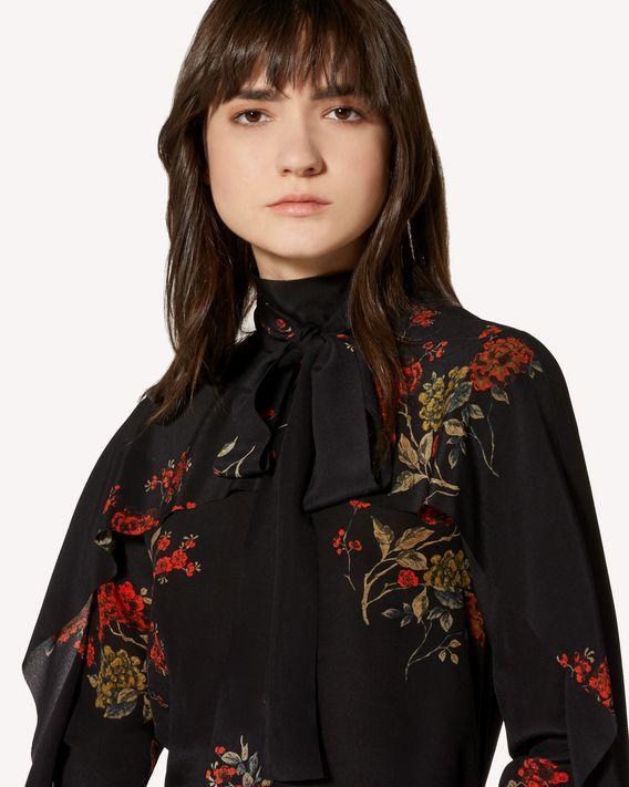 REDValentino Flounced Oriental Flowers crepe de chine top