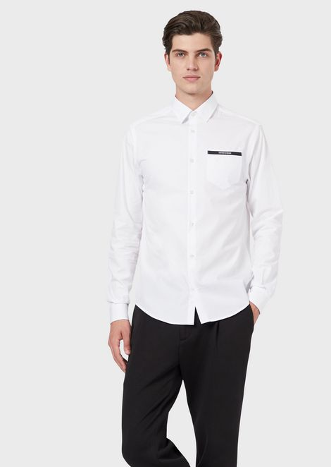 Cotton poplin shirt with logo pocket