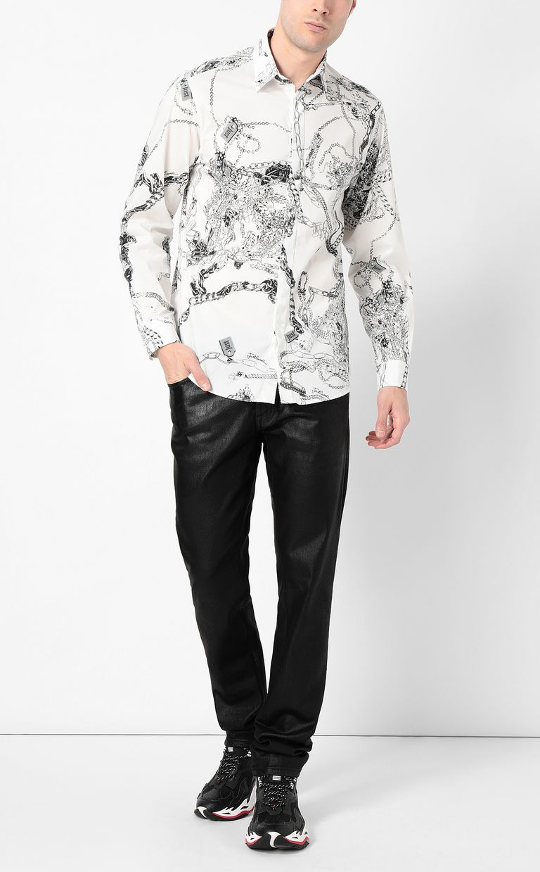 JUST CAVALLI Chain-print shirt Long sleeve shirt Man d