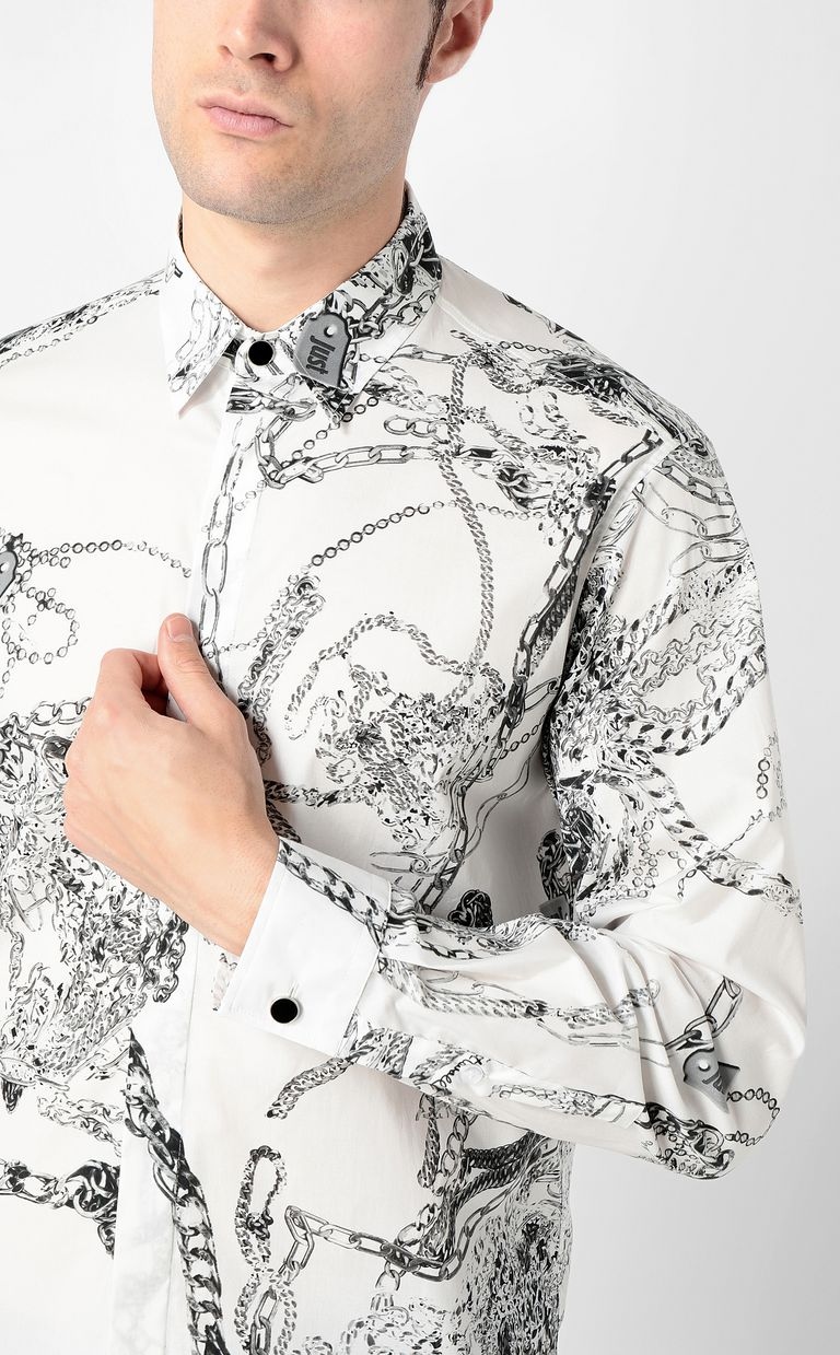 JUST CAVALLI Chain-print shirt Long sleeve shirt Man e