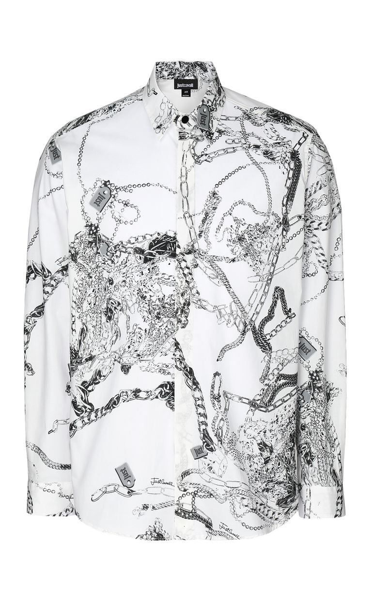 JUST CAVALLI Chain-print shirt Long sleeve shirt Man f