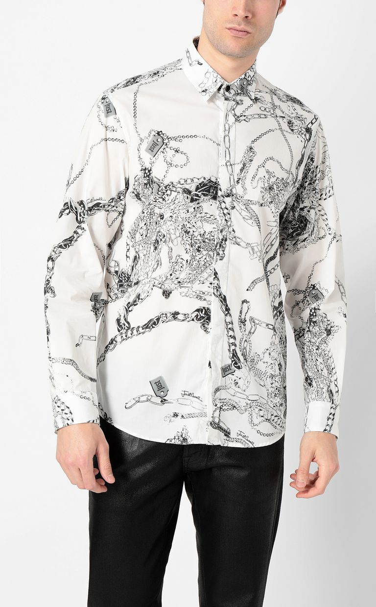 JUST CAVALLI Chain-print shirt Long sleeve shirt Man r