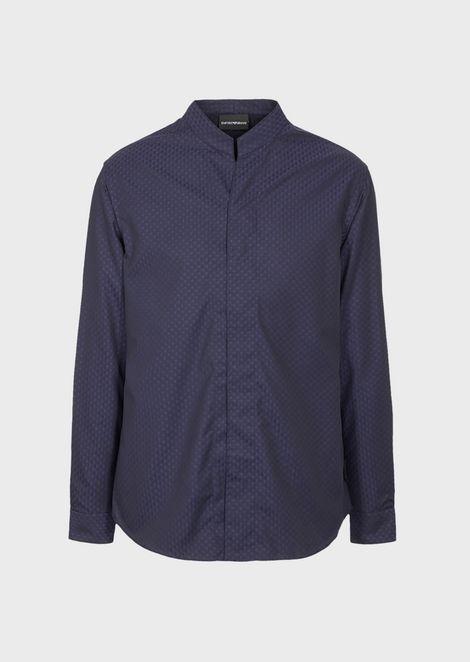V-neck shirt in textured cotton