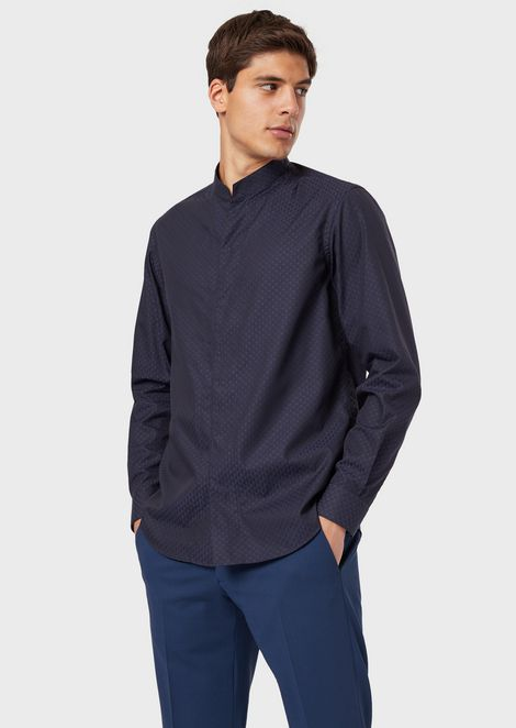 V-neck shirt in textured cotton