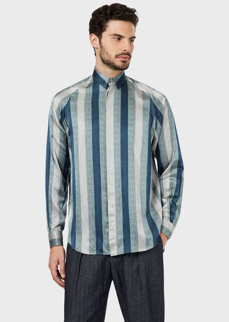 Regular-fit shirt in exclusive macro stripe fabric