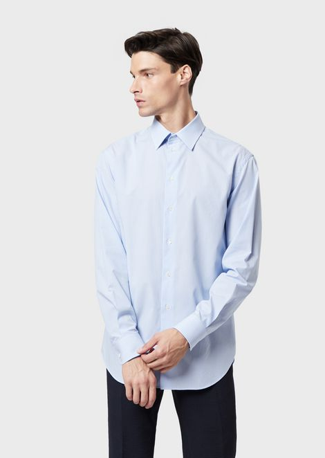 Modern-fit shirt in striped twill with classic stay collar