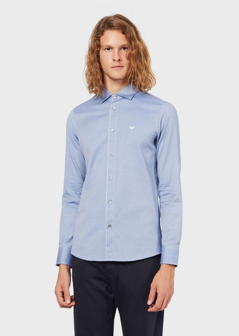 Cotton twill shirt with detachable double collar