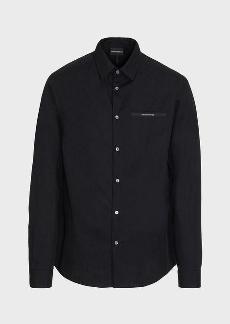 Chemise en popeline de coton avec poche ornée du logo