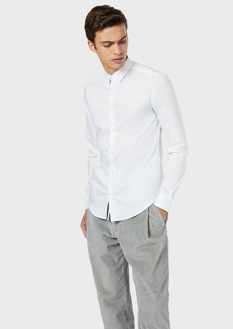 Stretch poplin shirt with Armani logo tape