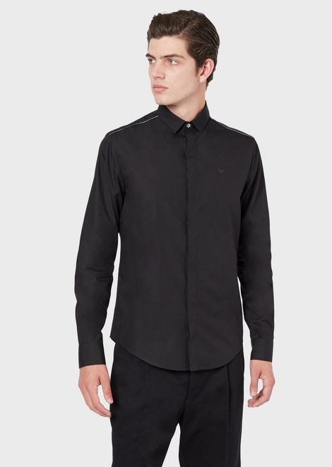 Poplin shirt with piping on the shoulders