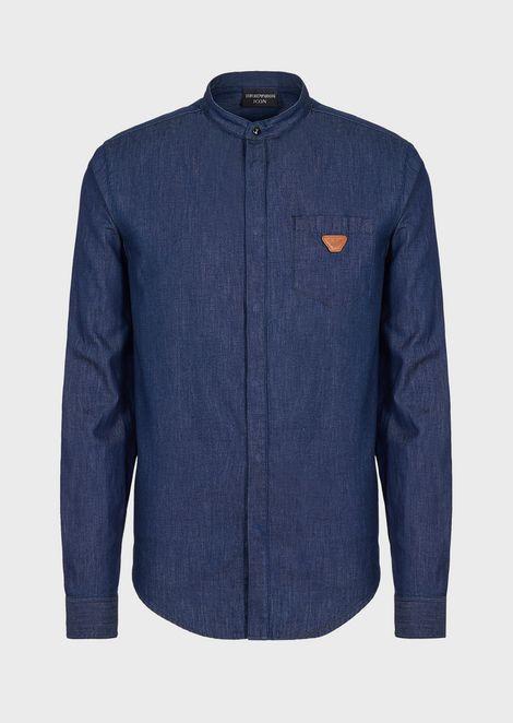 Denim shirt with guru collar and pocket
