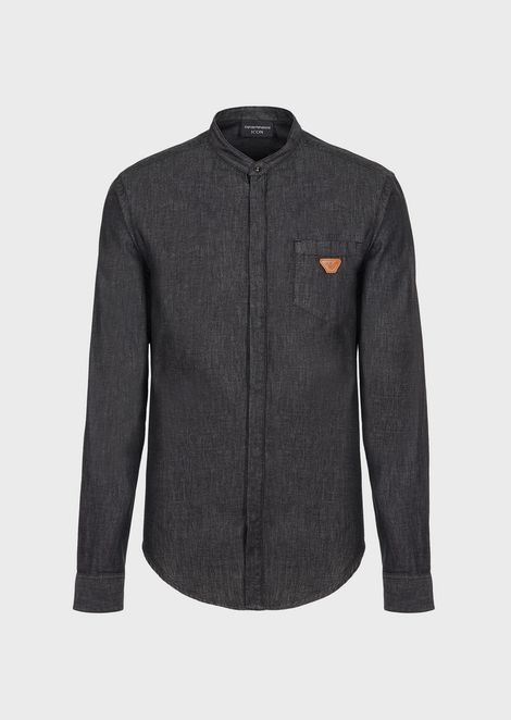 Denim shirt with guru collar and pocket