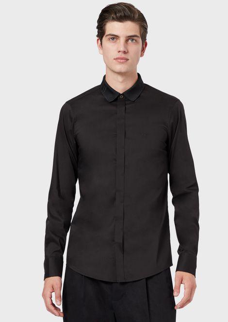 Stretch poplin shirt with logo detail