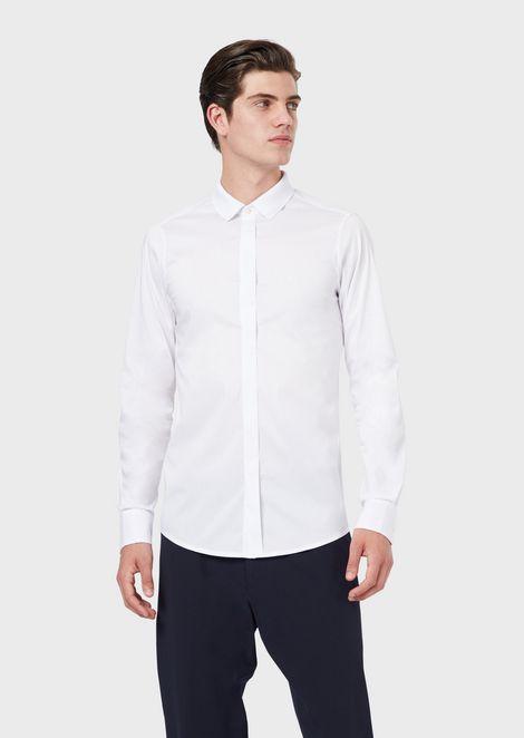 Camisa de popelina elástica con detalle con logotipo