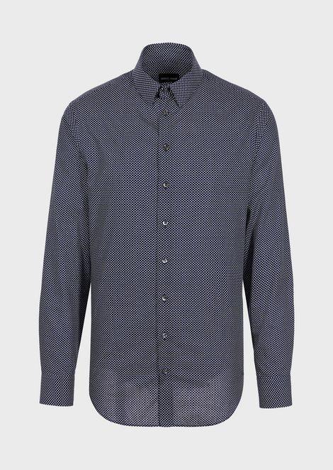 Рубашка прямого кроя из ткани сэксклюзивным узором
